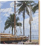 Canoes At Hui O Waa Lahaina Maui Hawaii Wood Print