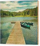Canoes At The End Of The Dock Wood Print