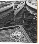 Canoes Docked At Lost Lake Wood Print