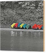 Canoes In A Row Wood Print