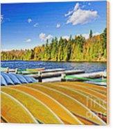 Canoes On Autumn Lake Wood Print by Elena Elisseeva
