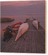 Canoes On Jetty Wood Print