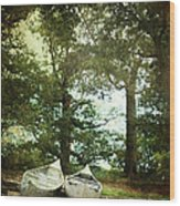 Canoes On The Shore Wood Print