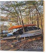 Canoes Resting Wood Print