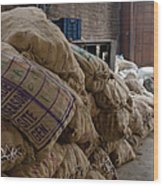 Canvas Bags Holding Foodstuffs Wood Print