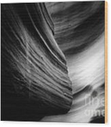 Canyon Curves In Black And White Wood Print by Christine Till