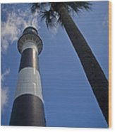Cape Canaveral Lighthouse With Palm Tree Wood Print