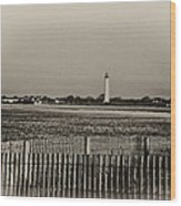 Cape May Light House In Sepia Wood Print