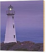 Cape Spear Lighthouse At Twilight, Cape Wood Print