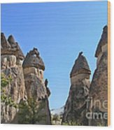 Capped Rock Formations Of Cappadocia Wood Print by Alexandra Jordankova