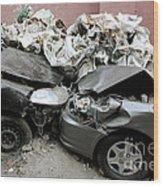 Car Crash In Cairo Wood Print