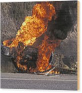 Car In Flames Wood Print by Kaj R. Svensson
