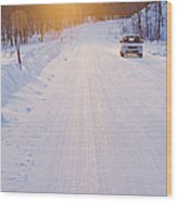 Car On Snow Covered Road Wood Print by Jeremy Woodhouse