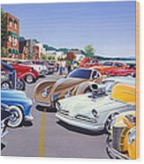 Car Show By The Lake Wood Print