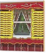 Caravan Window Wood Print