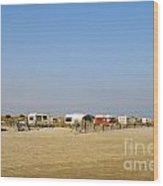 Caravans Parked On Beach Wood Print