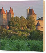 Carcassonne Dawn Wood Print