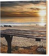 Carcavelos Beach Wood Print