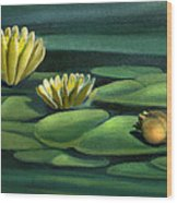 Card Of Frog With Lily Pad Flowers Wood Print