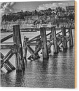 Cardiff Bay Old Jetty Supports Mono Wood Print