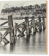 Cardiff Bay Old Jetty Supports Opal Wood Print