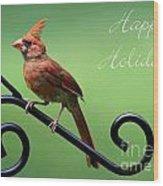 Cardinal Holiday Card Wood Print