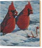 Cardinals In Winter Wood Print by Tracey Hunnewell