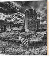 Carew Castle Pembrokeshire 4 Mono Wood Print