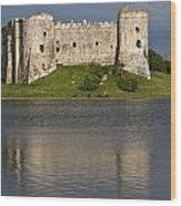 Carew Castle Reflections Wood Print