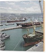Cargo Ships In Port Wood Print