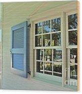 Caribbean Reflective Window Wood Print