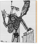 Caricature Of Roentgen And X-rays Wood Print by