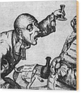 Caricature Of Two Alcoholics, 1773 Wood Print