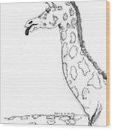Caricature Sketch Of A Giraffe Wood Print