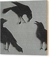 Carl's Crows Wood Print
