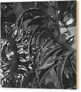 Carnival Masks In Black And White Wood Print