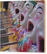 Carnival Of Clowns Wood Print