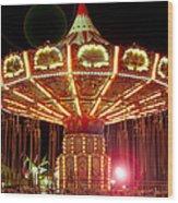Carnival Swing Nite Wood Print