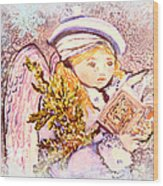 Caroling Angel Wood Print