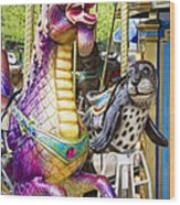 Carousal Dragon And Seal On A Merry-go-round Wood Print