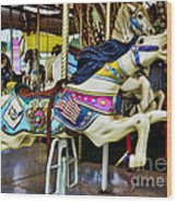 Carousel - Horse - Jumping Wood Print