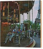 Carousel And Eiffel Tower Wood Print