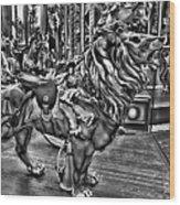 Carousel  Black And White Wood Print