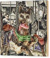 Carousel Cat Wood Print
