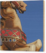 Carousel Horse Against Blue Sky Wood Print