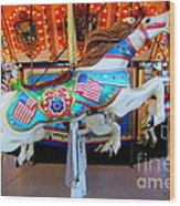 Carousel Horse With Flags Wood Print