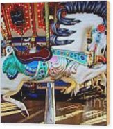 Carousel Horse With Leaves Wood Print