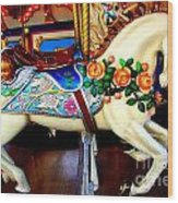 Carousel Horse With Roses Wood Print