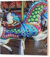 Carousel Horse With Sea Motif Wood Print