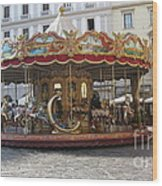 Carousel In Florence Wood Print